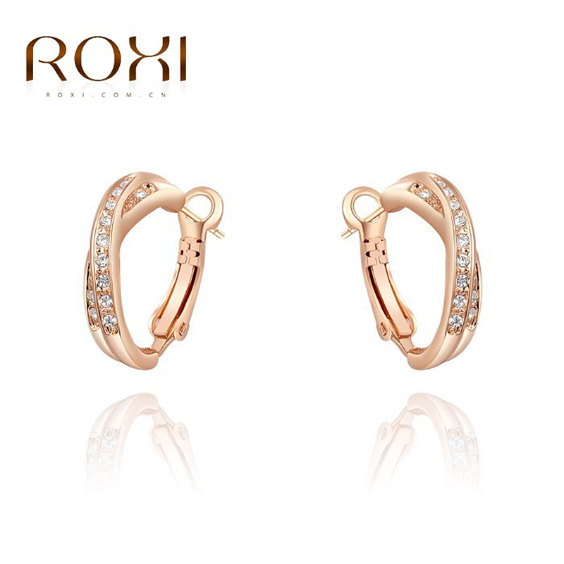 ROXI Christmas Gift Luxury Stud Earrings Rose Gold Color Austrian Crystals Handmade Fash ...