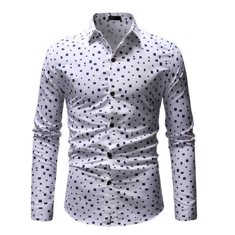 Мужская клетчатая рубашка Camisa Masculina 2019 брендовая приталенная рубашка с длинными рукавами мужская деловая рубашка на каждый день Chemise Homme