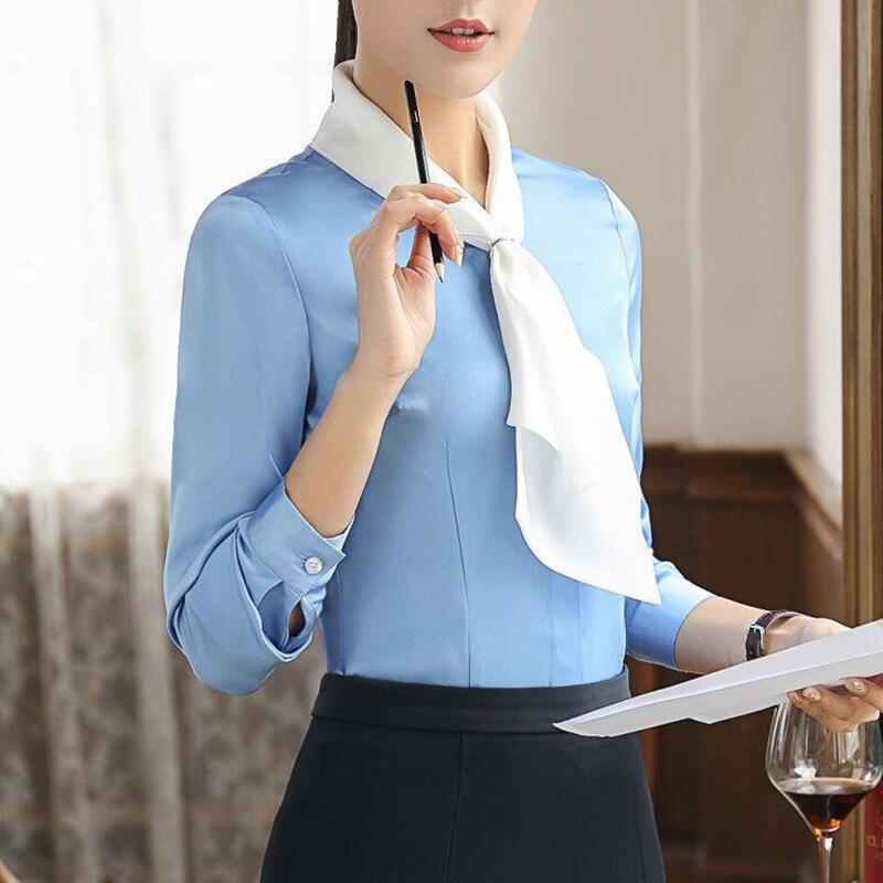 15d9d0320b1a € 15.62 |Aliexpress.com: Comprar Nueva y elegante de las mujeres azul cielo  blusas formal de moda manga larga slim blanco bufanda gasa camisa de las ...