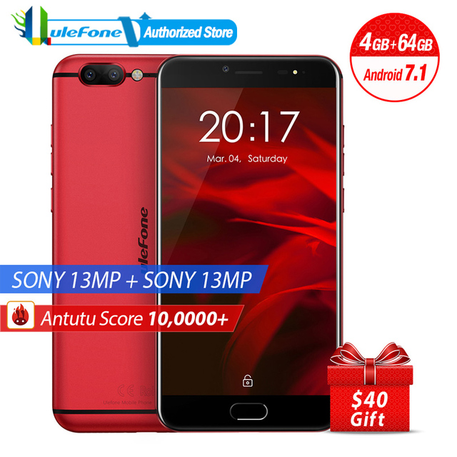 Ulefone Gemini Pro Dual Rear Cameras Mobile Phone 5.5 inch FHD MTK6797 Deca Core Android 7.1 4GB+64GB 13MP Camera Fingerprint