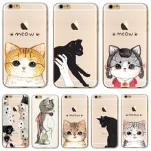 Для iPhone7 Мягкие TPU Крышка Для Apple iPhone 7 Случае Случаи Телефона Shell Ничья Кошка Очень Нежные Голубые Глаза Кремния Горячие Продаж!