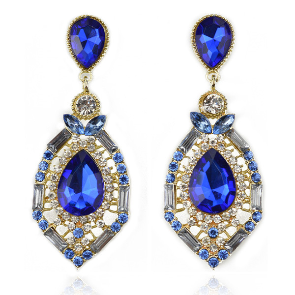Luxury Elegant Ocean Blue Rhinestone Big Fashion Drop