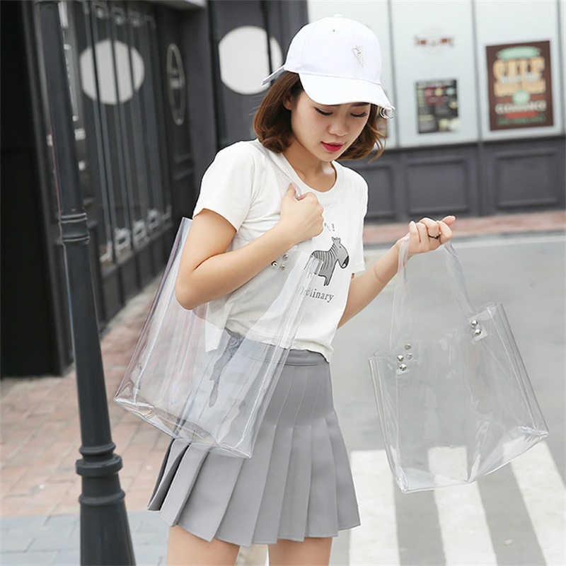 2019 Ladies Transparent Tote Bag Plastic Summer Beach Shoulder Bag Women PVC Handbag Clear Teenager Girls Jelly School Bag W392