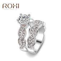 AAA Engagement for women white gold filling double row group CZ Wedding female anel Austrian Crystals top quality ring