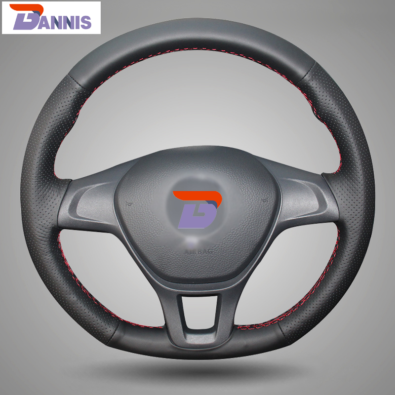 BANNIS Black Artificial Leather DIY Hand stitched Steering Wheel Cover for Volkswagen VW Golf 7 Mk7