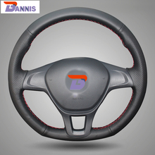 BANNIS Black Artificial Leather DIY Hand-stitched Steering Wheel Cover for Volkswagen VW Golf 7 Mk7 New Polo 2014 2015