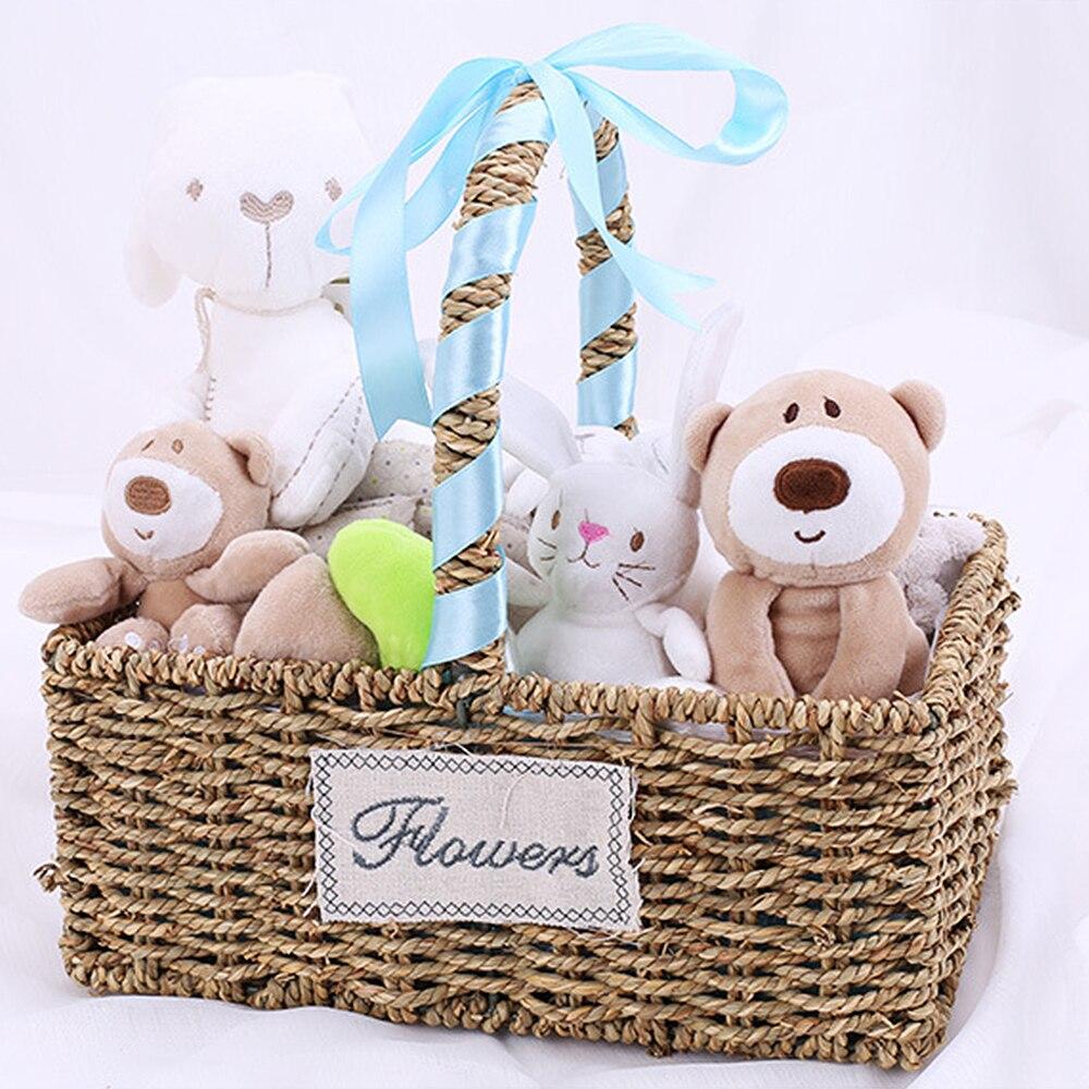 Bébé en peluche poupée cadeau boîte apaiser voiture cloche hochet voiture suspendus peluche lapin ours nouveau-né cadeau ensemble maternel et enfant 4 pièces