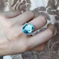 Натуральный голубой топаз камень кольцо природных драгоценных камней кольцо S925 серебро модный роскошный большой для женщин вечерние подар