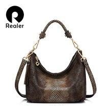9beb7ac94ffe0 REALER marke echtes leder handtasche frauen quaste schulter tasche  weibliche kleine einkaufstasche gold python muster leder