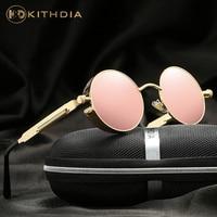 KITHDIA Brand Designer Polarized Sunglasses Women Reflective Mirror Sun Glasses Metal Frame With Case UV400 A372
