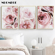 Scandinavian Style Flower Posters and Prints Wall Pictures for Living Room Pink Flowers Decorative Painting Home Decor