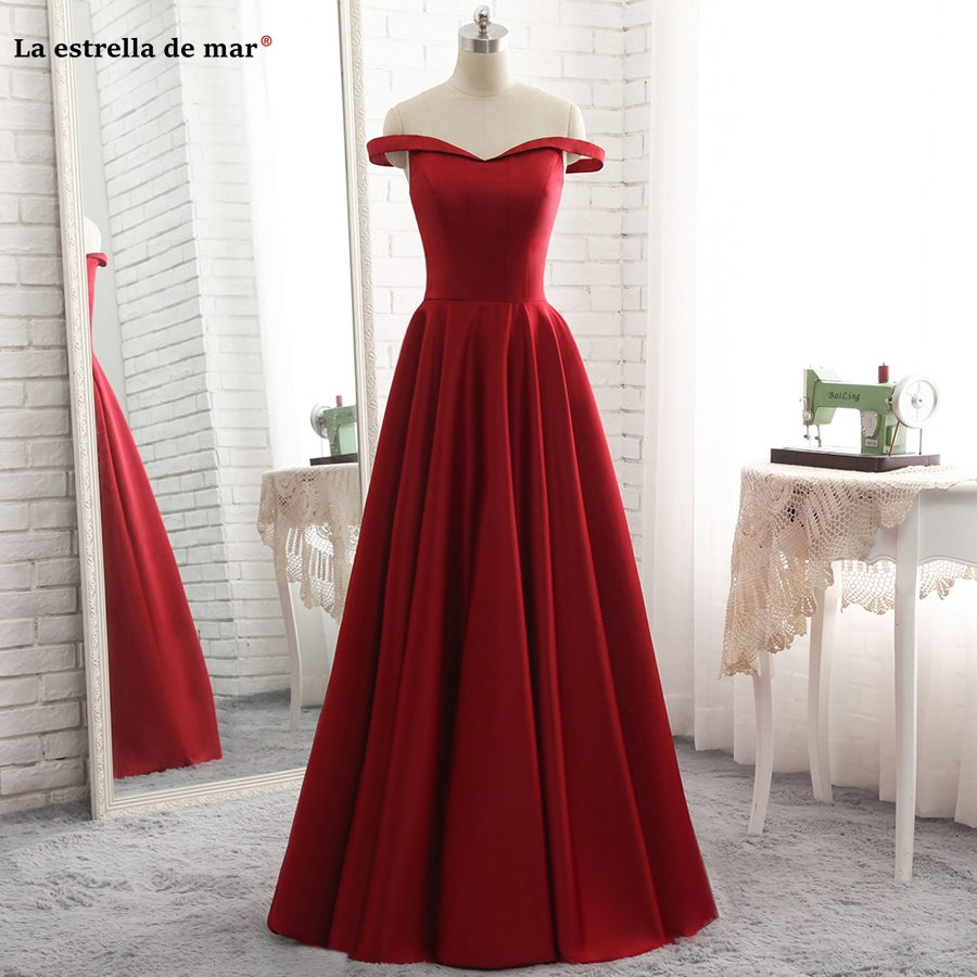 La estrella de mar brautjungfernkleid 2019 new sexy V neck cap sleeve a Line burgundy   bridesmaid     dresses   long plus size cheap