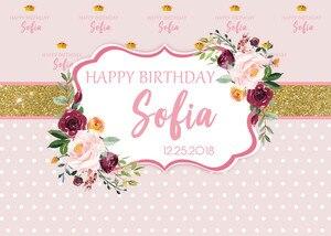 Image 2 - Sensfun Rosa Fiore Fotografia Sfondo Personalizzato Oro Glitter Polka Dots Ragazze Buon Compleanno Sfondi Per Foto In Studio