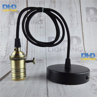 Antique Color Finish Brass Key Socket Lighting Fixture Vintage E27 DIY Hanging Lamp Copper Material Quality