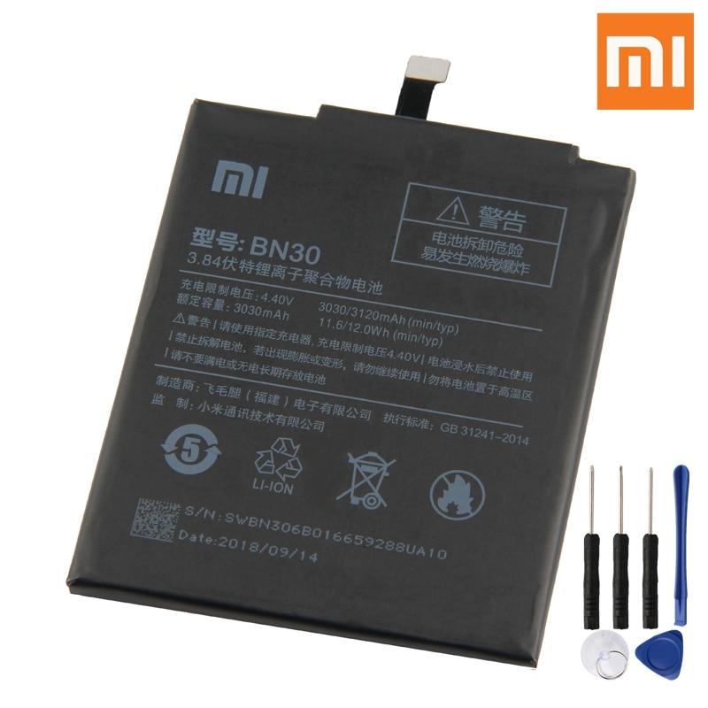 Bateria bn30 original de xiao mi para xiao mi redmi hong mi 4a redrice 4a bn30 substituição genuína bateria do telefone 3120 mah + ferramentas gratuitas