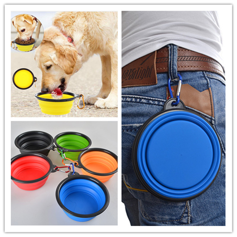 Silicone Pet cat dog food water bowl dogs Puppy Foldable collapsible bowls travel Containers feeder small puppy dog accessories image