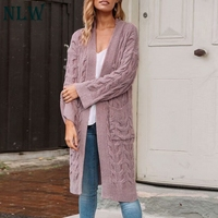 NLW Chenille Wool Long Pink Cardigans Women 2019 Autumn Winter Knitted White Pockets Cardigan Casual Loose High Quality Cardigan