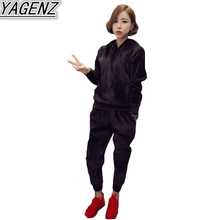 Autumn Winter Women Two piece Suit Sportswear 2017 Fashion Velvet Tracksuits Women plus size Sporting Suit