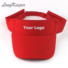 c7765ed5296 LongKeeper Visor Caps Women Open Tops Customized Adjustable Hats LOGO  Printing Candy Color Adult Baseball Sun