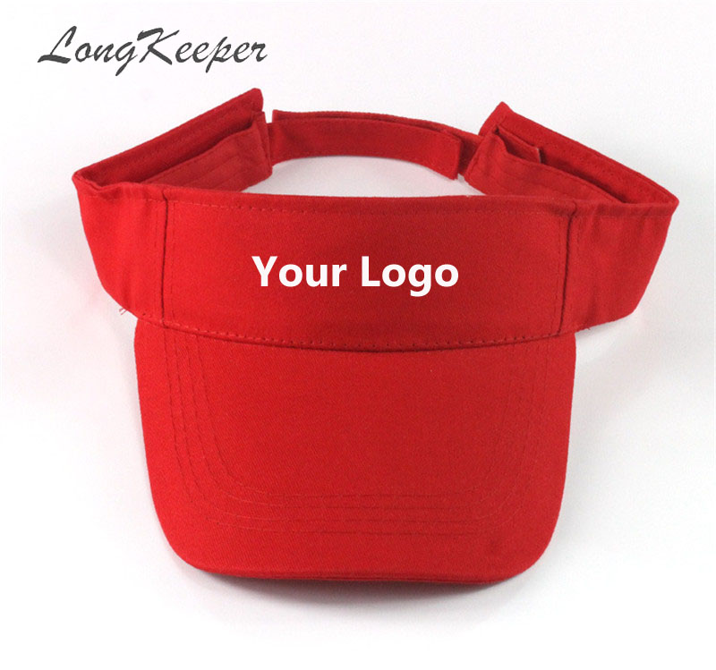 LongKeeper Visor Caps Women Open Tops Customized Adjustable Hats LOGO Printing Candy Color Adult Baseball Sun Caps 10pcs/lot