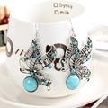 Очаровательная бабочка тибетского серебра серьги с бирюзой и ювелирных кристаллов старинные серьги для женщин ювелирные изделия большая скидка горячей