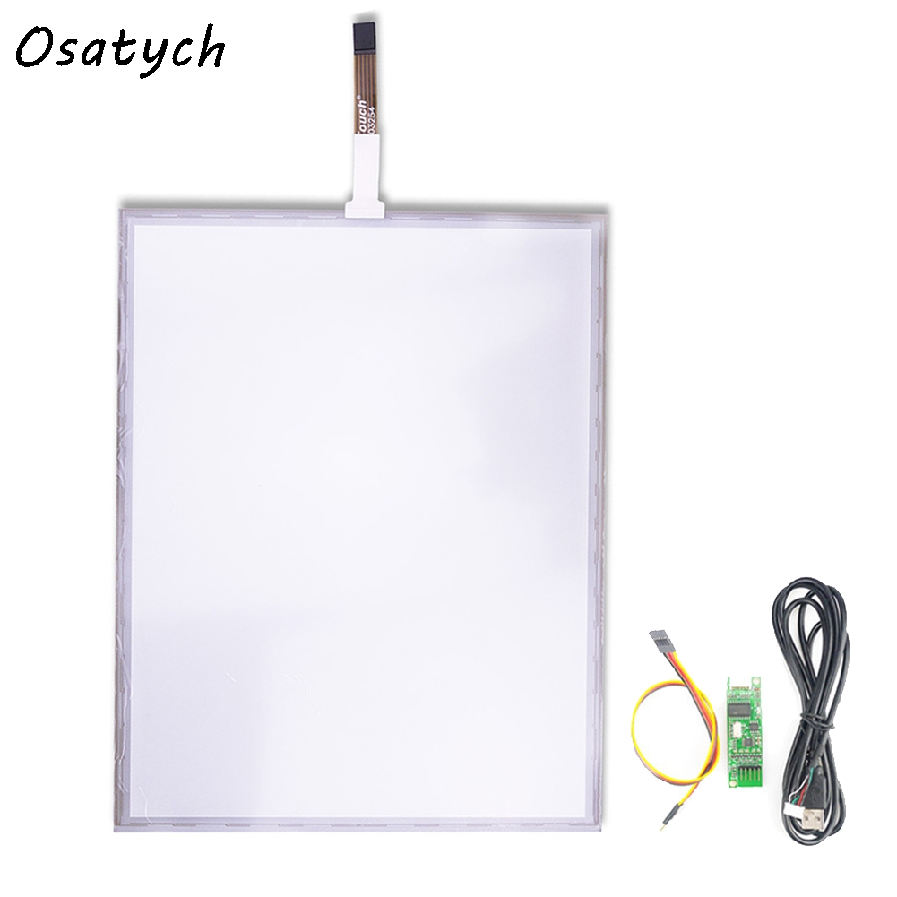 New for 355mm*288mm 288mmx355mm Resistive Touch Screen Panel + 5 Wire USB Kit for 17 inch Monitor 17inch resistive touch screen panel 382 2x239 5mm 5wire usb driver board kit for 17 monitor