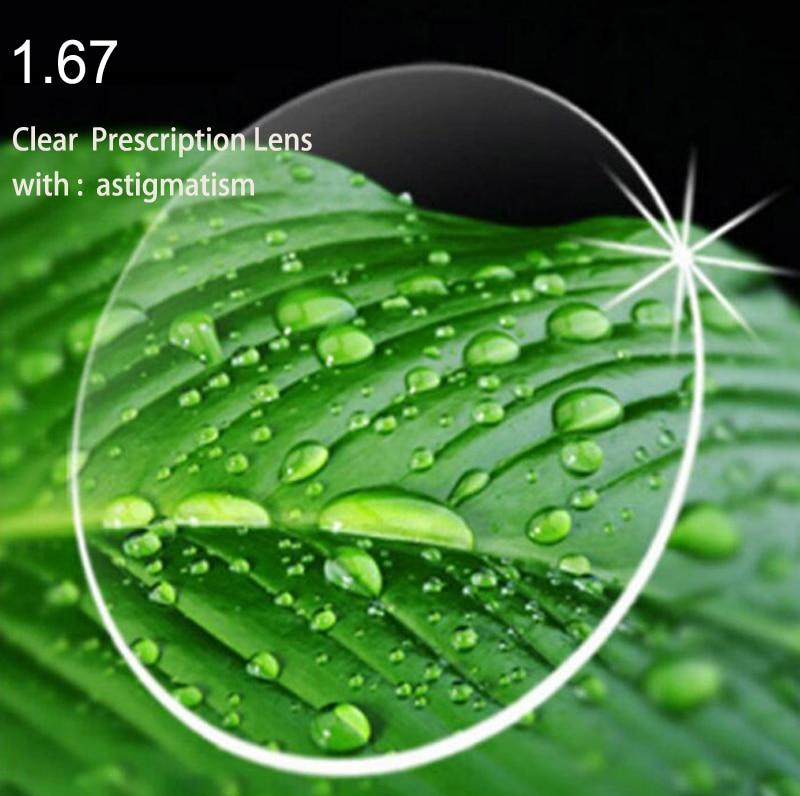 1.67 lentille de myopie avec astigmatisme HC TCM lentilles de Prescription en résine UV lentilles optiques de haute qualité