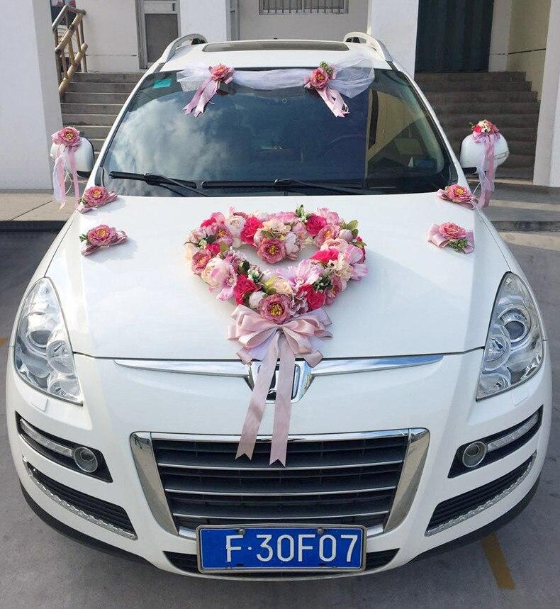 Wonderbaar Kunstmatige rose pioen Bruiloft auto decoratie set Zijden bloemen WF-29
