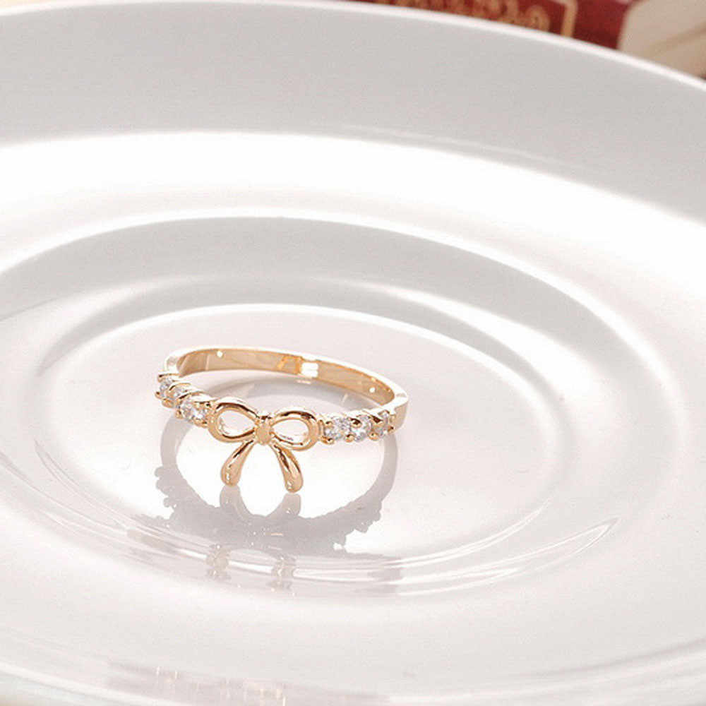 Silver Gold Color Classical Ring For Women Girls Engagement Wedding Rings Korean Jewelry Simple Crystal Bow Ring @5