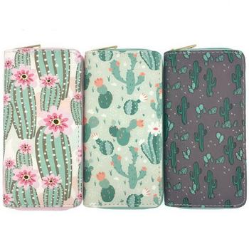 KANDRA Cactus Printing Women Long Wallet PU Leather Summer New Phone Pouch Ladies Plant Card Holder Bag Girls Zipper Coin Purse natsume yuujinchou natsume takashi cat printing long coin purse pu anime women wallet kawaii female purse student phone bags