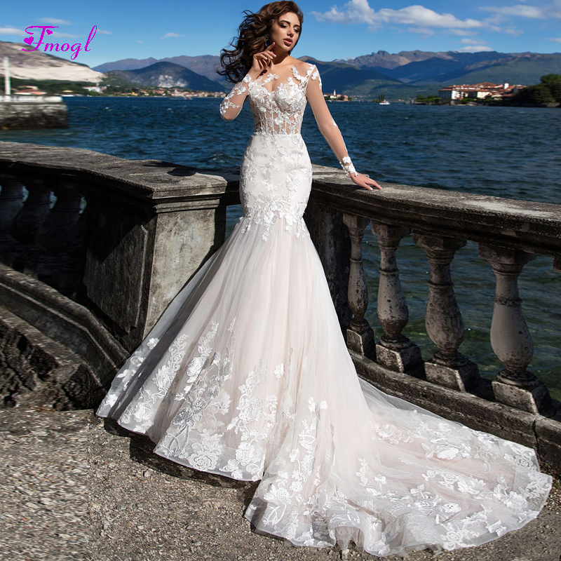 Trumpet Wedding Gowns With Sleeves: Fmogl Gorgeous Appliques Mermaid Wedding Dresses 2019 Sexy