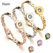 Eleple Titanium Steel Lady Replacement Zircon Bracelets Anniversary Banquet Unique Popular Jewelry Factory Supplier S-HB05