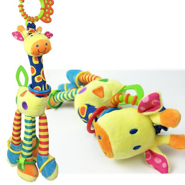 Giraffe baby plush toys bed fluid bed hang  a bell BB device tooth gum Baby Rattles Teether