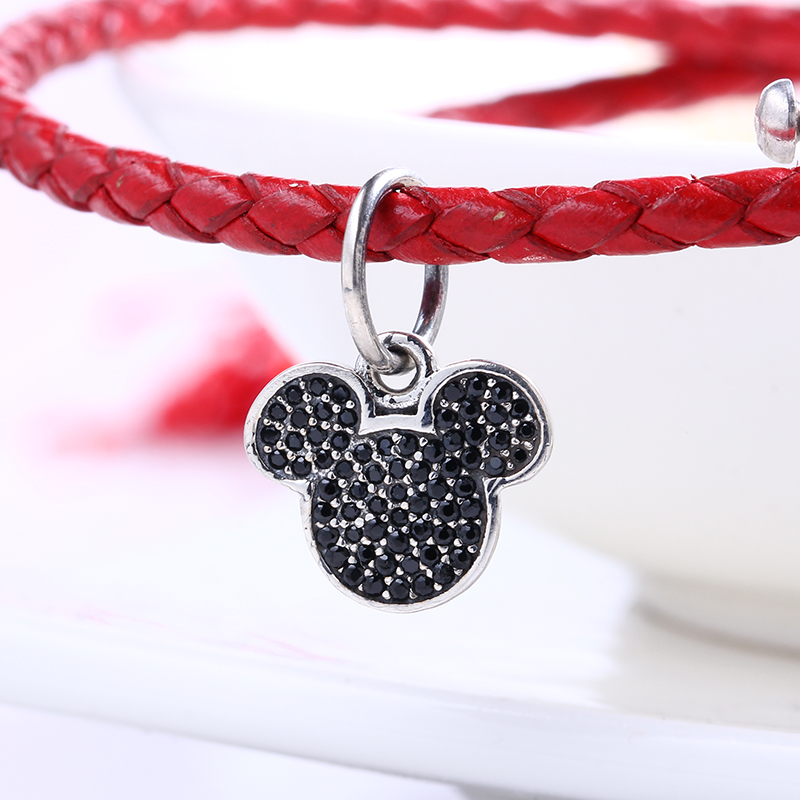 High Quality Authentic Black Mickey Signature silver S925 Logo Fit Pandora Bracelet 925 original Beads for jewelry Making Gift