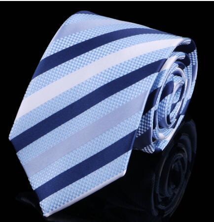 Lazo de los hombres 8 cm vestido de boda corbata A Rayas corbata azul