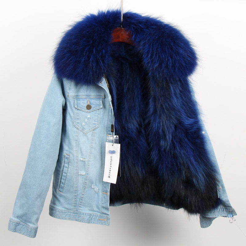 Джинсовые куртки 2018 Новая мода зима Для женщин Твердые ковбой Подлинная енота воротник + съемный вкладыш короткие женский пиджак пальто