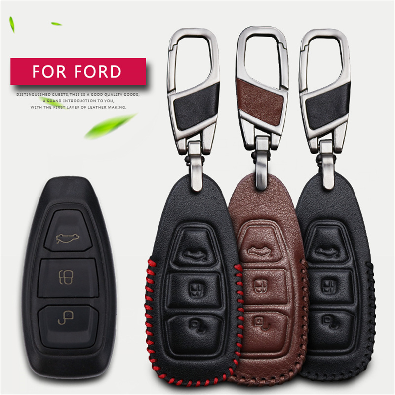 Genuine Leather Men Women Car Key Case Cover Shell Chian For Ford Focus 2 3 Fiesta Transit Ecosport Mondeo Kuga S-MAX Key Wallet