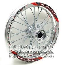 Серебристые задние диски 1,85x14 дюймов, диски из алюминиевого сплава с дисковой пластиной, колеса с золотым ЧПУ, ступица 14 дюймов, 32 спицы для грязи, велосипеда ямы, запчасти для колес