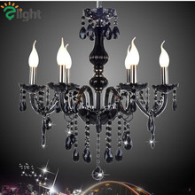 2016 Europe Plated Glass Black Lustre K9 Crystal E14 Led Candle Chandelier Modern Luxury Diamond Chain Foyer Led Hanging Light