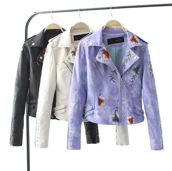 Manteau Le Vêtements Rivet Beige Pu Tops Vers Bas lavande Tournent Cool Veste Survêtement noir Cuir Mode Zipper wBB1OqIPW