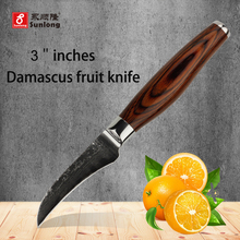 Sunlong 3 pulgadas cuchillo de fruta cuchillo de cocina de damasco cuchillos de cocina super sharp peeling cuchillo de acero damasco superior mango de madera de color