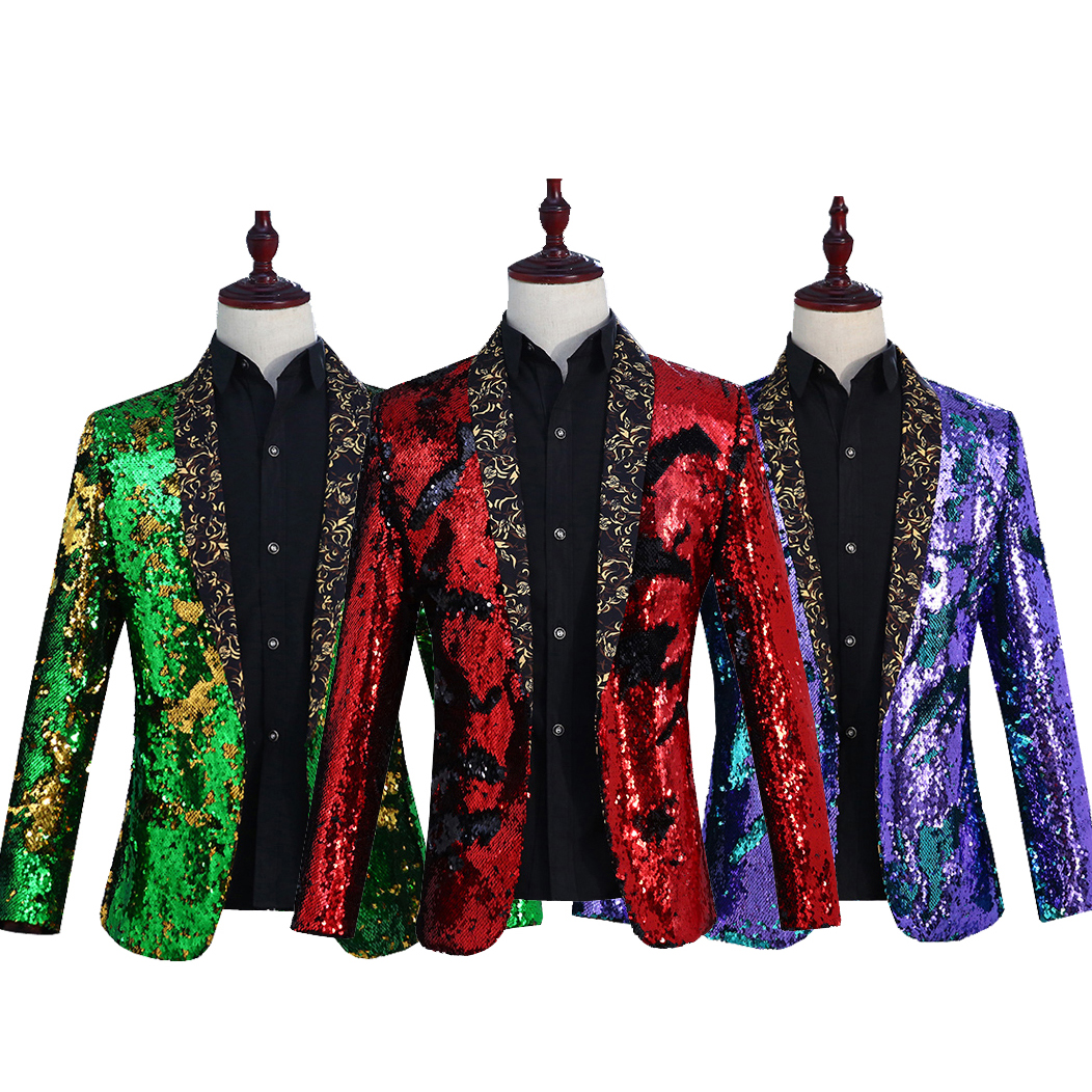 Mens Sequins Bling Blazers Formal Slim Fit Coats Show Shiny Black Green Gold Suit Lapel Collar Bar Dress Nightclub 6Colors