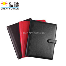 A4 Genuine Leather 4 Rings Binder folder with calculator