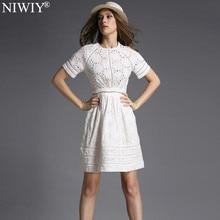 NIWIY Brand Dress Summer Style Kate Middleton Princess Dress Aliexpress uk 2017 Cotton Elegant Women Embroidered White Dress 730