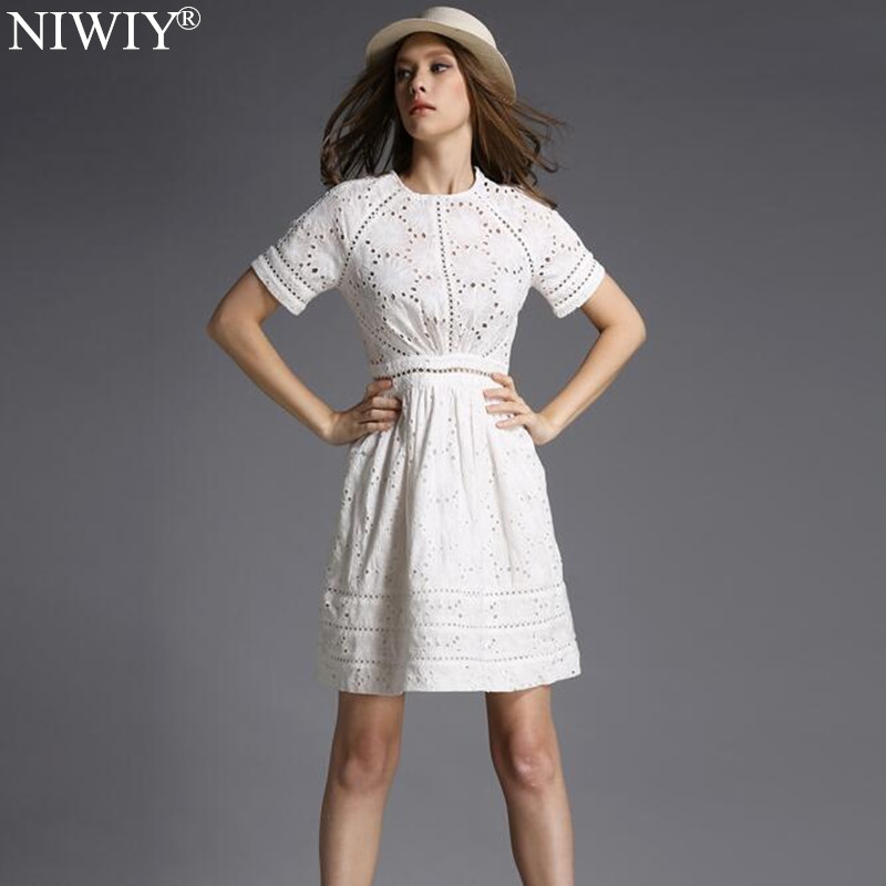 Buy Cheap NIWIY Brand Dress Summer Style Kate Middleton Princess Dress Aliexpress uk 2017 Cotton Elegant Women Embroidered White Dress 730