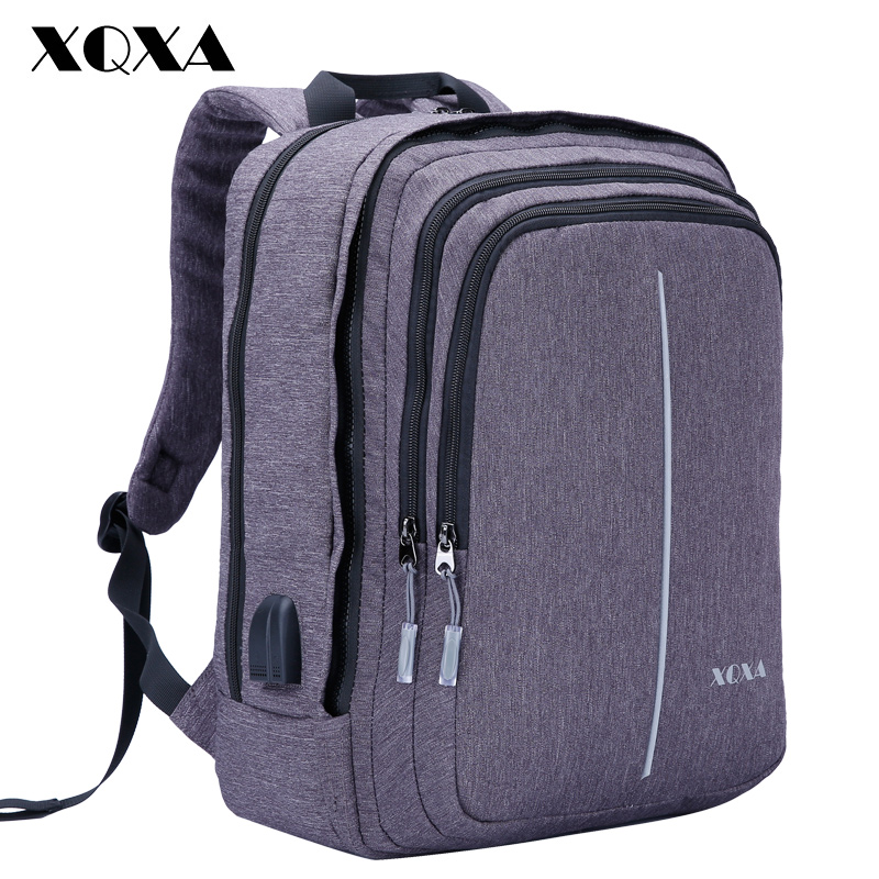XQXA 17.3 Laptop Backpack with USB Charging Port Business Bag Notebook Computer Casual Daypack for Men and Women School Travel 17 inch laptop backpack men usb charging nylon camouflage travel backpack computer bag headphone hole rucksack daypack notebook