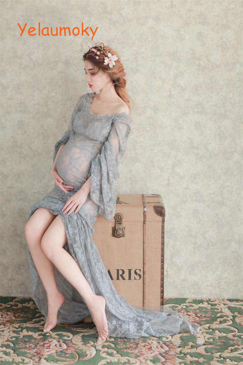 hollow maternity photography props lace trumpet dress pregnant women lace long dress Girls wedding party lace dress[Yelaumoky] see thru mini lace dress