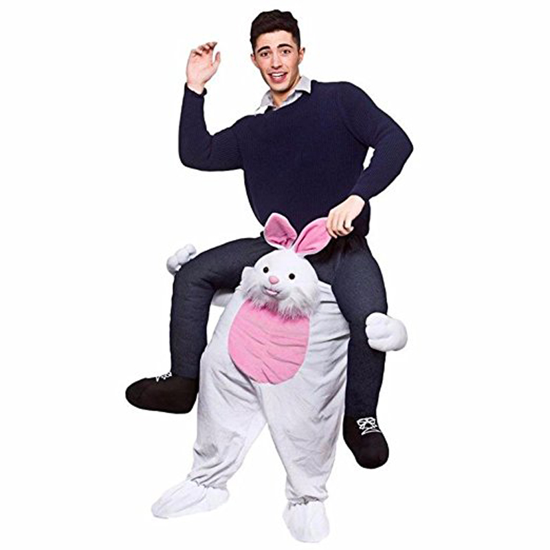 Cute Rabbit Ride-on Animal Costumes Christmas Halloween Party Cosplay Clothes Carnival Father Adultos Dress Up Hourse Riding Toy clown inflatable costumes halloween witch party stage clothes for men women carnival father unisex dress up fancy stuffed toys