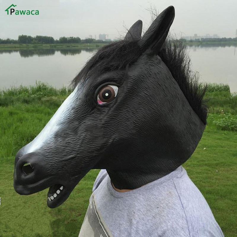Full Face Mask Carnival Creepy Horse Mask Full Head Rubber Latex Animal Masks Halloween Masquerade for
