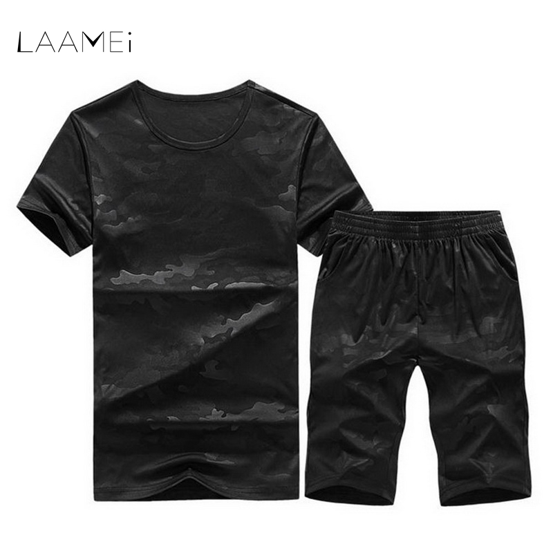 LAAMEI Fashion New Arrival Mens Sportswear Summer Camouflage Polyester Military Style T-Shirt+Shorts 2 Piece Set Tracksuit Men